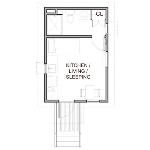 The Dwellings Tiny Home small floor plan